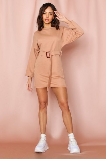 Camel Belted High Neck Sweat Dress