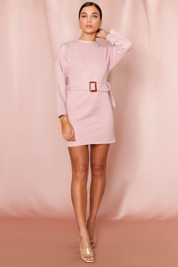 Womens Nude Belted High Neck Sweat Dress