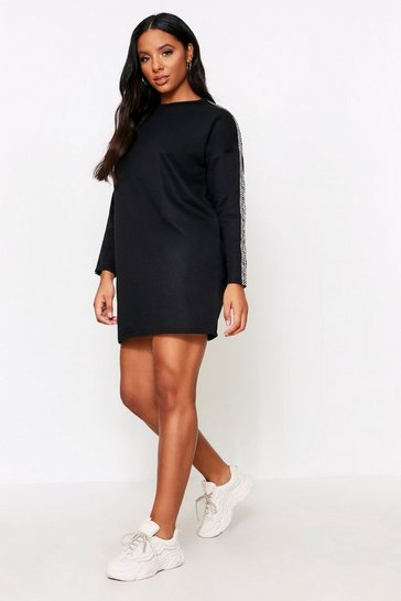 Womens Black Aztec Tape Detail Sweater Dress