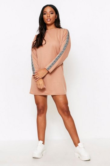 Camel Aztec Tape Detail Sweater Dress
