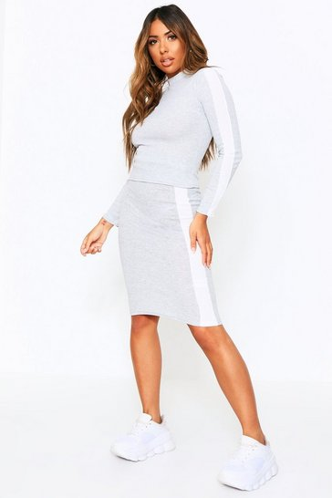 Womens Grey Ribbed Sports Stripe High Neck Top + Mini Co-ord