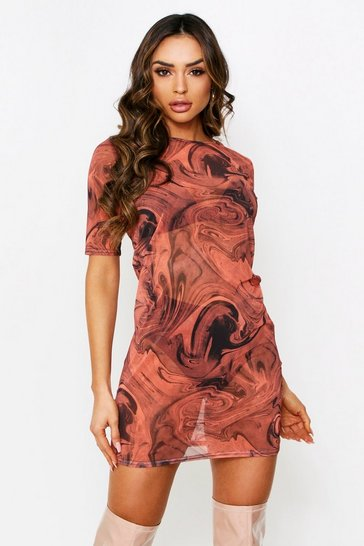 Womens Brown Marble Print Mesh Oversized T shirt dress