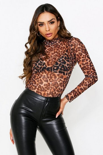 Womens Brown Leopard Print Mesh High Neck Bodysuit