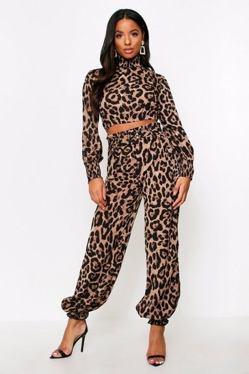 Womens Leopard Paper Bag Belted Cuff Trouser