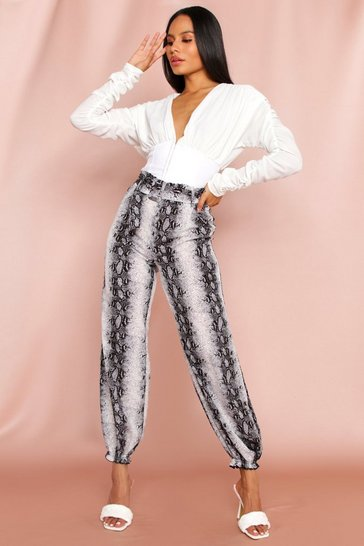 Snake Paper Bag Belted Cuff Pants