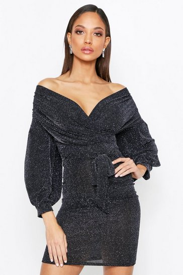 Womens Black Off The Shoulder Glitter Mini Dress