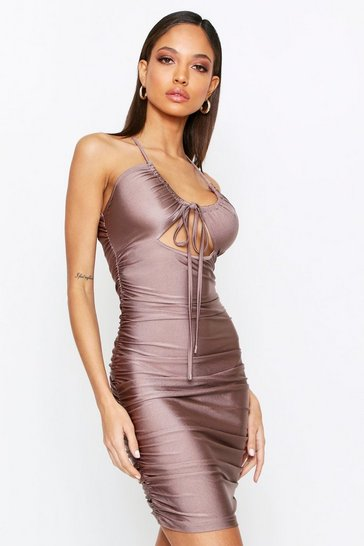 Bronze Ruched Bum Tie Mini Dress
