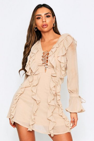 Stone Lace Up Chiffon Ruffle Dress
