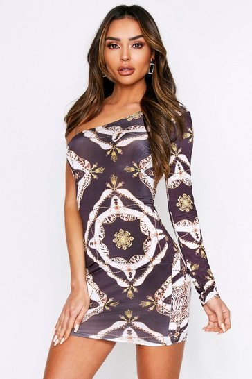 Black Chain Print Slinky One Shoulder Dress
