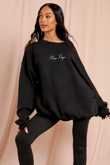 Black Miss Pap Slogan Oversized Sweatshirt