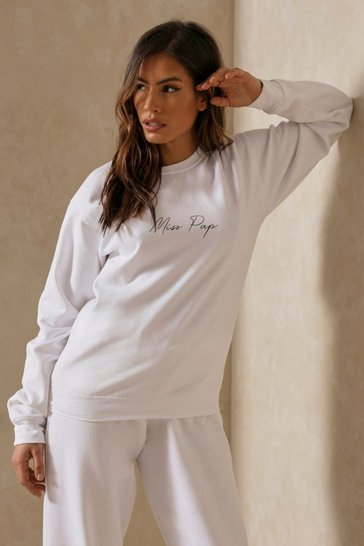 Womens White Miss Pap Slogan Oversized Sweat