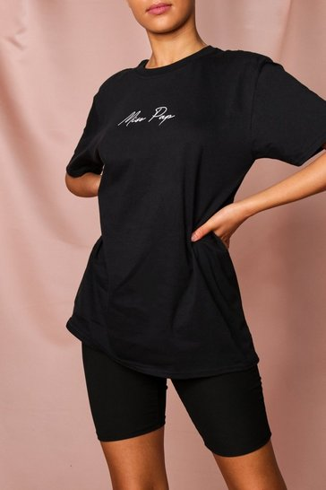 Womens Black Miss Pap Slogan Oversized Tshirt