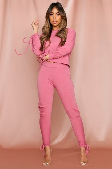 Dusky pink Ruched Sleeve Detail Lounge Set