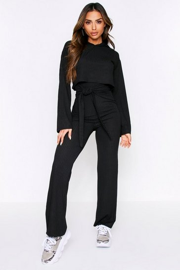 Black Trouser Tie Front Lounge Set