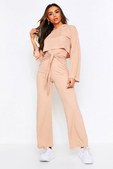 Womens Stone Trouser Tie Front Lounge Set