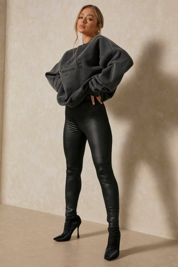 Black High Waist leather Look Legging
