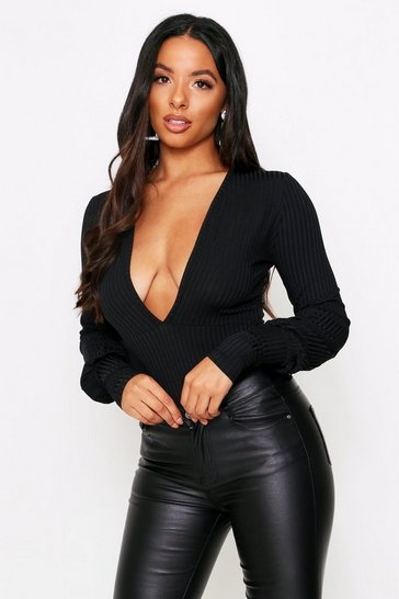 Womens Black Ribbed Plunge Long Sleeve Bodysuit