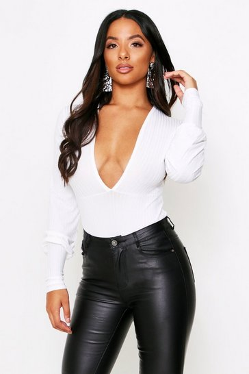 Womens White Ribbed Plunge Long Sleeve Bodysuit