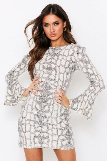 Cream Snake Print Brushed High Neck Dress