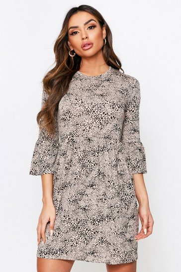 Stone Leopard Spot Frill Sleeve Jersey Dress