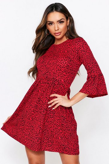 Red Leopard Print Frill Sleeve Smock Dress