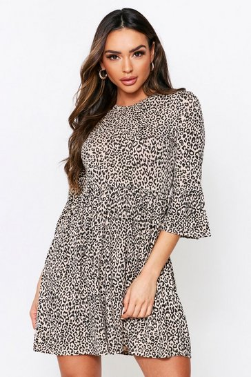 Womens Stone Leopard Print Frill Sleeve Smock Dress