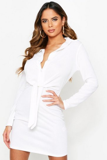 White Crepe Tie Waist Shirt Dress