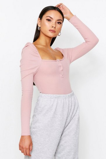 Rose pink Ribbed Popper Front Puff Shoulder Bodysuit