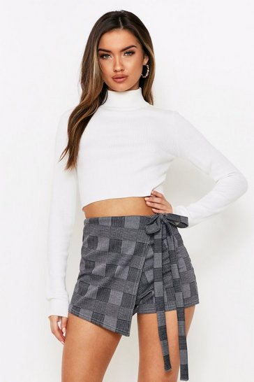 Grey Checked Wrap Skort