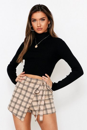 Womens Stone Checked Wrap Skort