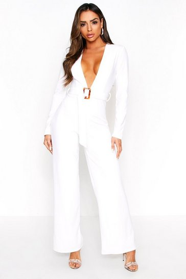 White Plunge Belted Wide Led Jumpsuit