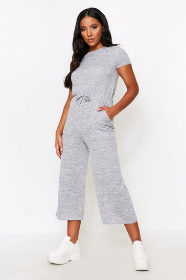 Grey Melange Knit Crew Neck Jumpsuit