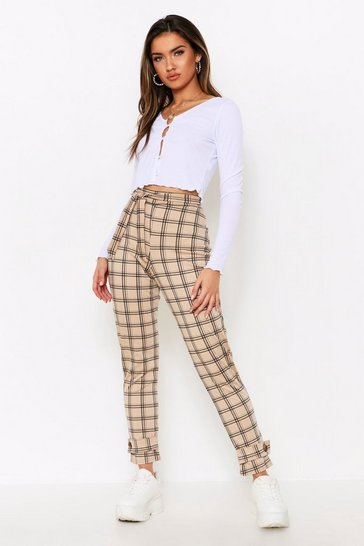 Womens Stone Checked Button Detail Cuff Trousers