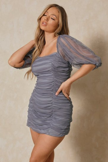 Blue Ruched Puff Sleeve Mesh Mini Dress