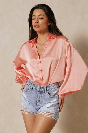 Peach Satin Balloon Sleeve Oversized Shirt