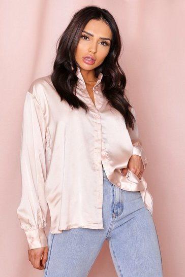 Taupe Satin Balloon Sleeve Oversized Shirt