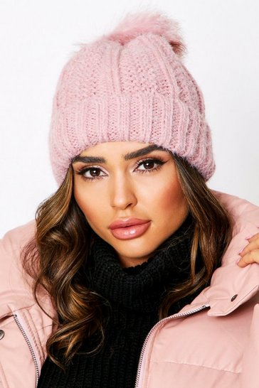 Blush Fleece Lined Pom Pom Bobble Hat