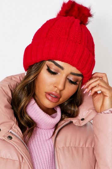Red Fleece Lined Pom Pom Bobble Hat
