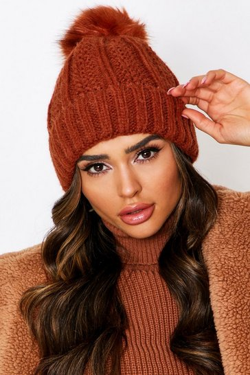 Rust Fleece Lined Pom Pom Bobble Hat