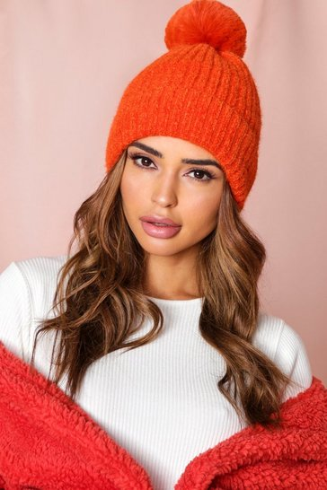 Orange Chenille Faux Fur Pom Pom Bobble Hat