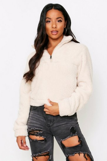Cream Half Zip Borg Fleece Pull Over