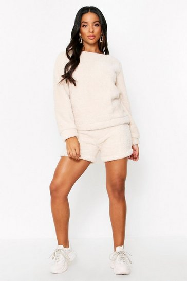 Cream Borg Co Ord Shorts Set