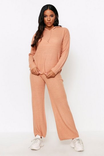 Camel Knitted Rib Coord