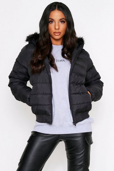 Womens Black Faux Fur Puffer Jacket