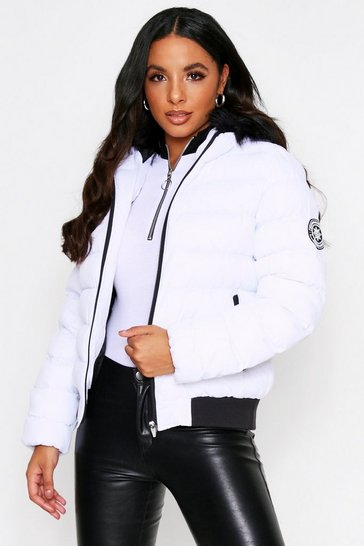 Womens White Faux Fur Puffer Jacket