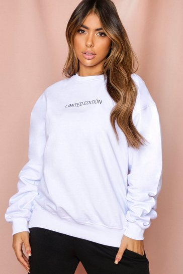 White Limited Edition Slogan Oversized Sweatshirt