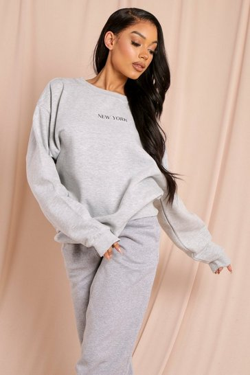 Grey marl New York Slogan Oversized Sweatshirt