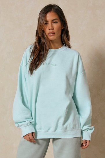 Mint New York Slogan Oversized Sweatshirt