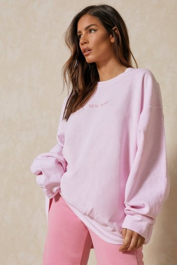 Pink New York Slogan Oversized Sweatshirt