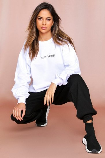 White New York Slogan Oversized Sweatshirt